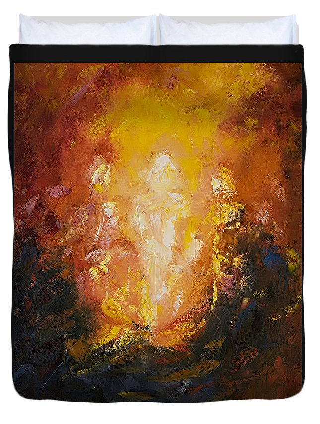 Abstract Duvet Cover featuring the painting Transfiguration by Lewis Bowman