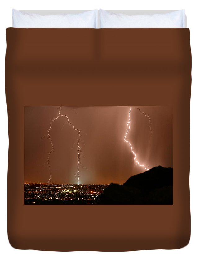Arizona Lightning Photography Duvet Cover featuring the photograph Transformer Strike by Cathy Franklin