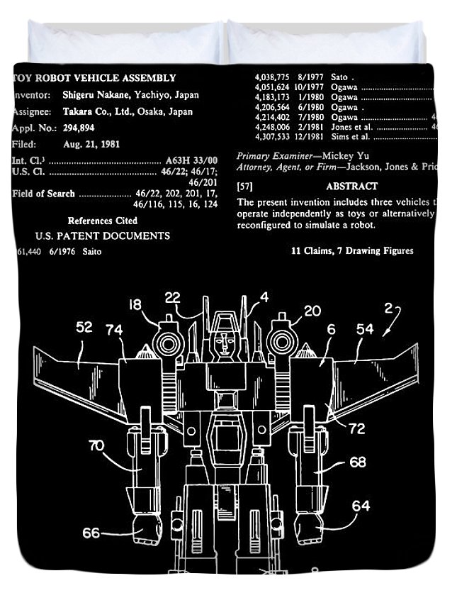 Patent Duvet Cover featuring the digital art Transformers Patent - Black And White by Finlay McNevin