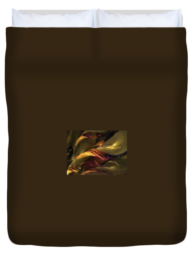 Amber Duvet Cover featuring the digital art Trapped In Amber by NirvanaBlues