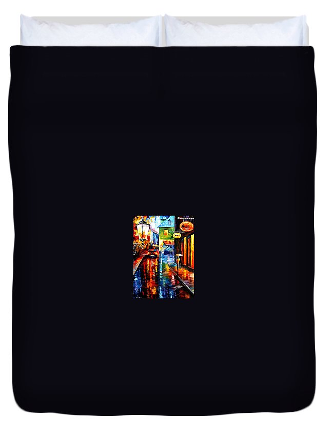 Afremov Duvet Cover featuring the painting Trapped Inside Blue Rain by Leonid Afremov