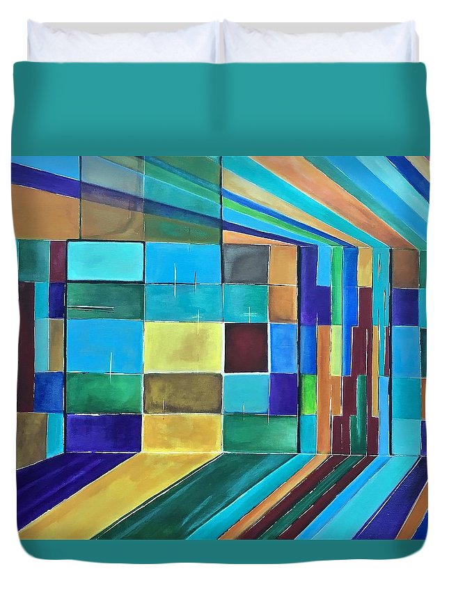 Blue Gray White Abstract Acrylic Canvas Painting Original Red Squares Green Duvet Cover featuring the painting Trapped by Pete Sirna