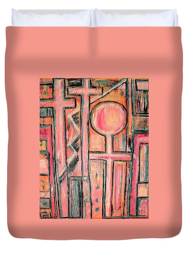 Cross Duvet Cover featuring the painting Trappings Of Love Abstract Art Painting by Kathy Augustine