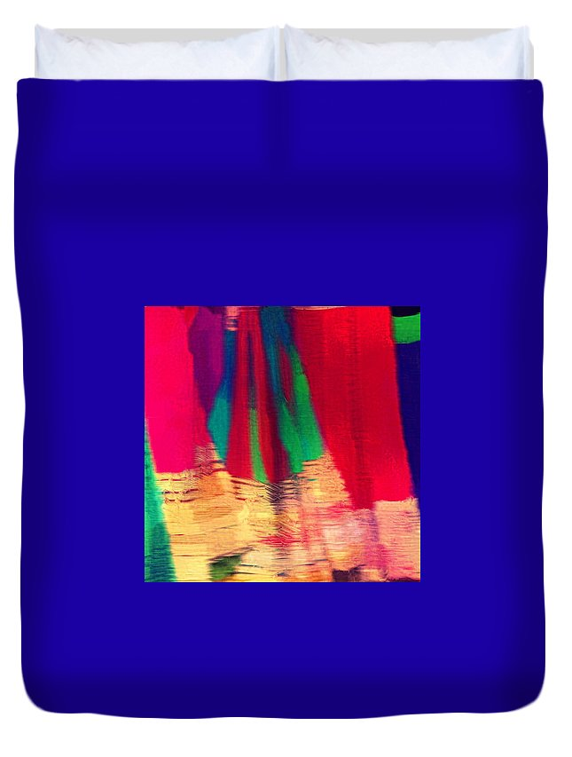 Abstract Duvet Cover featuring the photograph Travel Shopping Colorful Scarves Abstract Series Square India Rajasthan 1h by Sue Jacobi