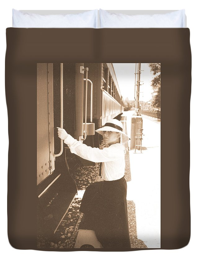 Snood Duvet Cover featuring the photograph Traveling By Train - Sepia by Cindy New