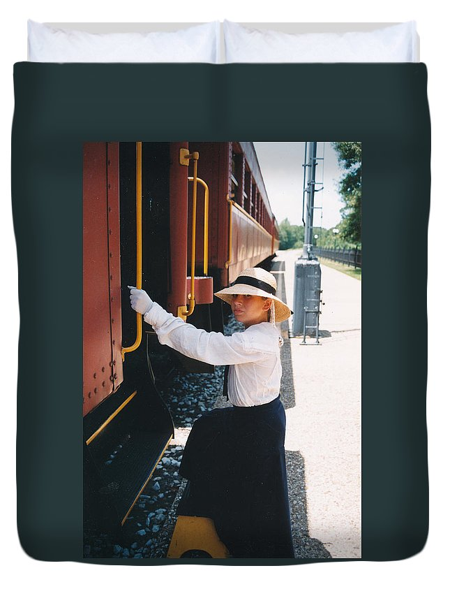 Snood Duvet Cover featuring the photograph Traveling By Train by Cindy New