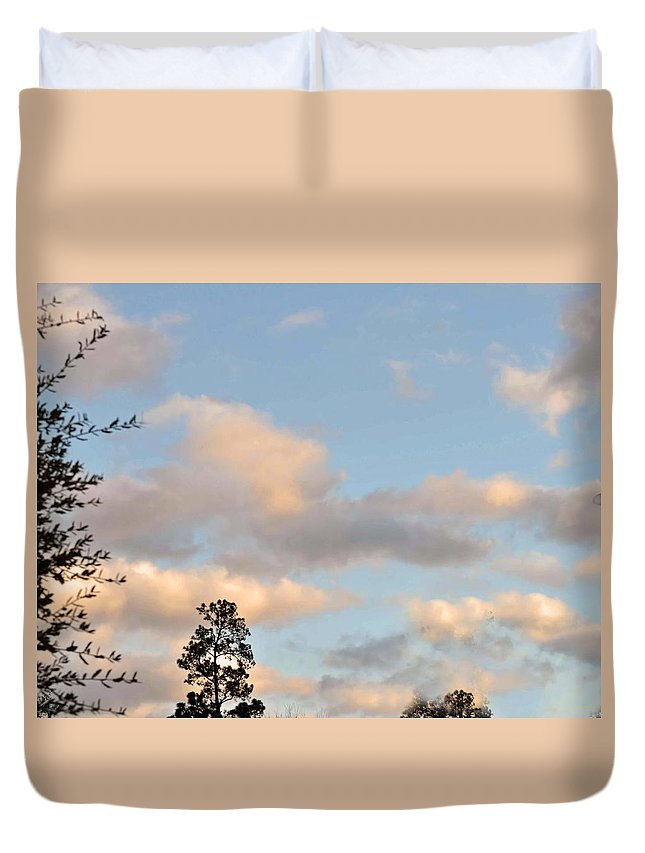 Clouds Duvet Cover featuring the photograph Traveling Clouds by Judith Russell-Tooth