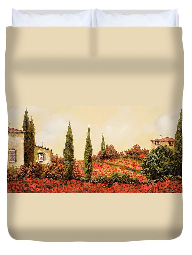 Landscape Duvet Cover featuring the painting Tre Case Tra I Papaveri Rossi by Guido Borelli