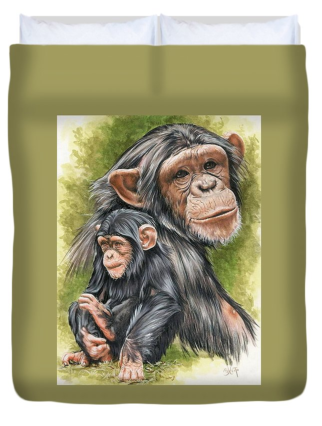 Chimpanzee Duvet Cover featuring the mixed media Treasure by Barbara Keith