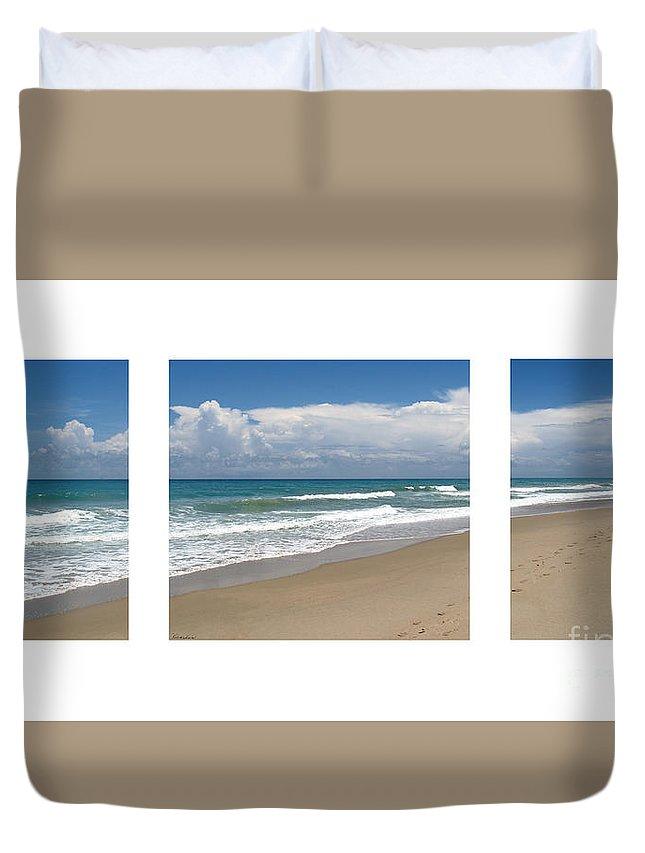 Beach Duvet Cover featuring the photograph Treasure Coast Beach Florida Seascape C4 Triptych 2 by Ricardos Creations