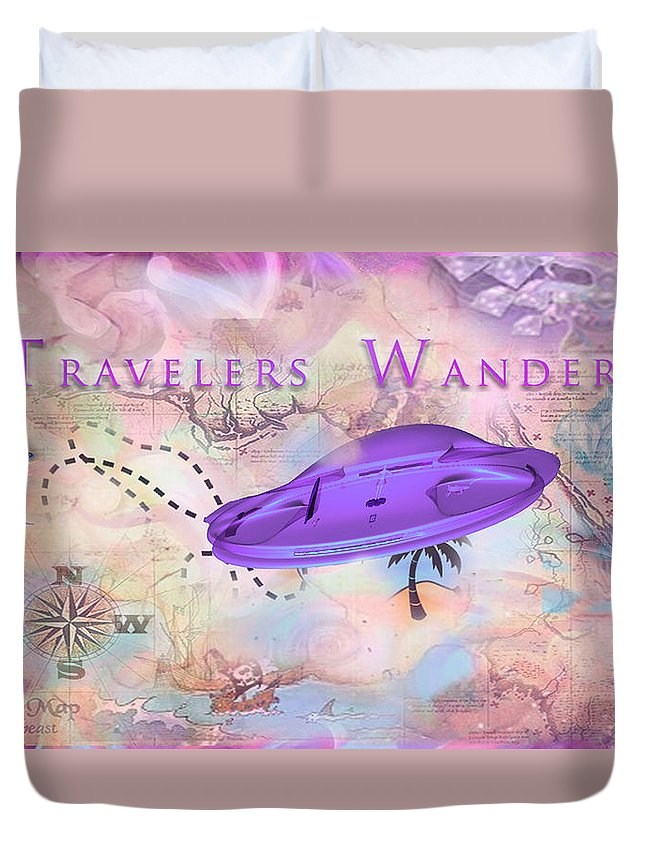 Duvet Cover featuring the digital art Treasure Map by Subbora Jackson