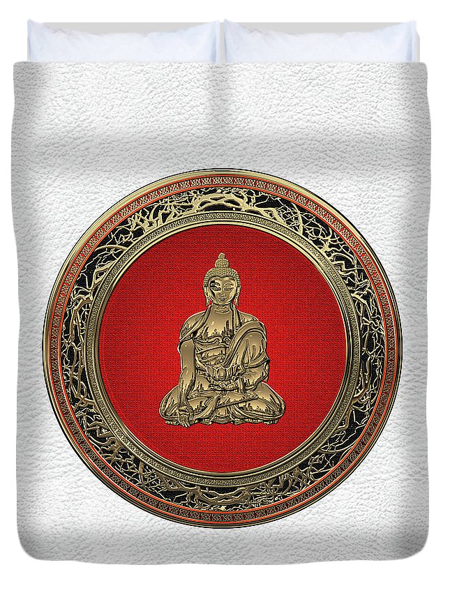 'treasure Trove' Collection By Serge Averbukh Duvet Cover featuring the digital art Treasure Trove - Gold Buddha On White Leather by Serge Averbukh