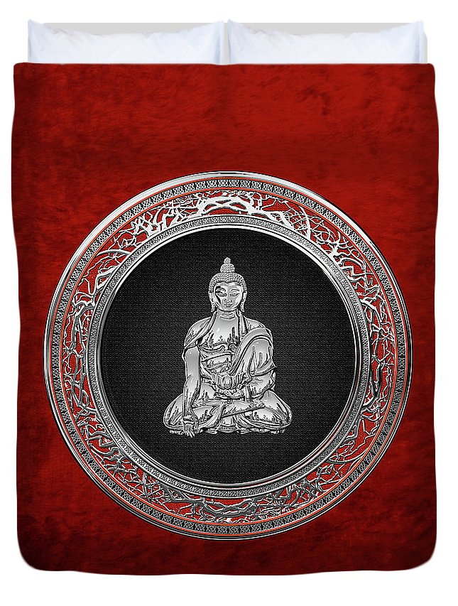 'treasure Trove' Collection By Serge Averbukh Duvet Cover featuring the digital art Treasure Trove - Silver Buddha On Red Velvet by Serge Averbukh