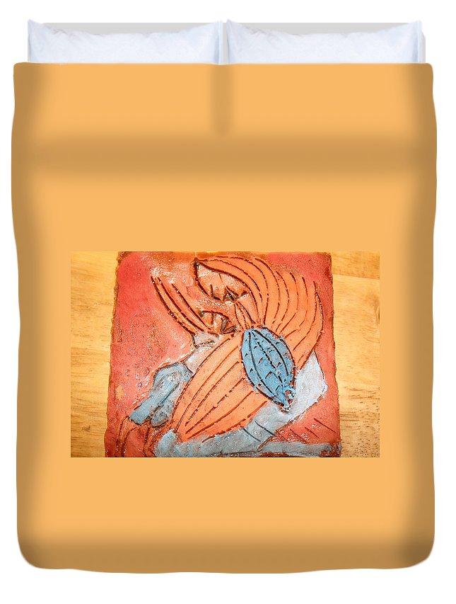 Jesus Duvet Cover featuring the ceramic art Treasures - Tile by Gloria Ssali