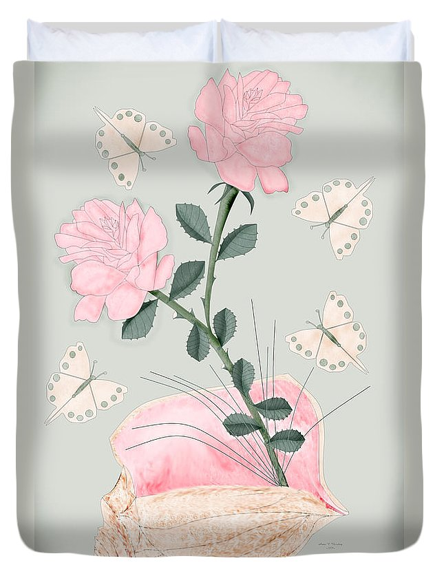 Conch Shell Duvet Cover featuring the painting Treasures by Anne Norskog