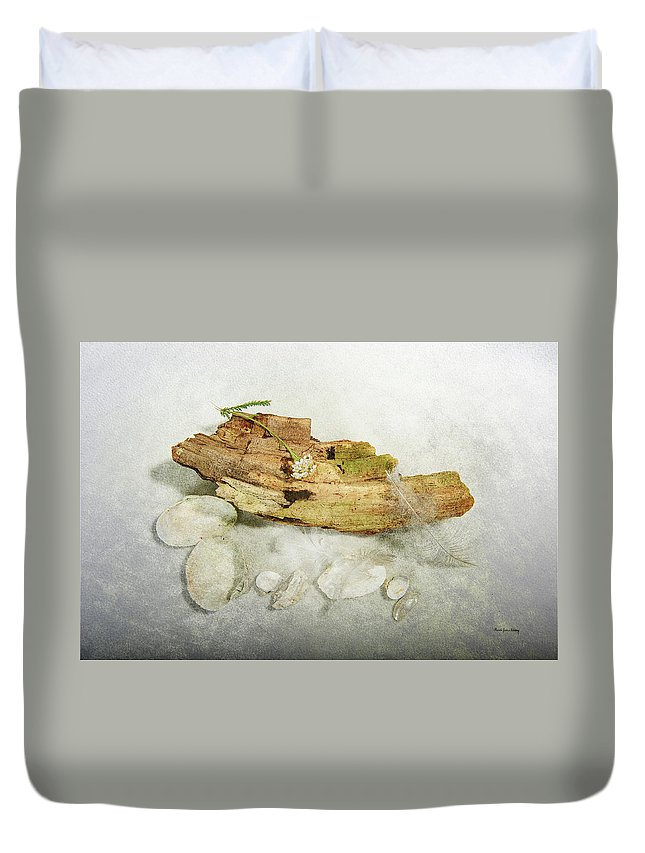 Feather Duvet Cover featuring the photograph Treasures From The Beach by Randi Grace Nilsberg