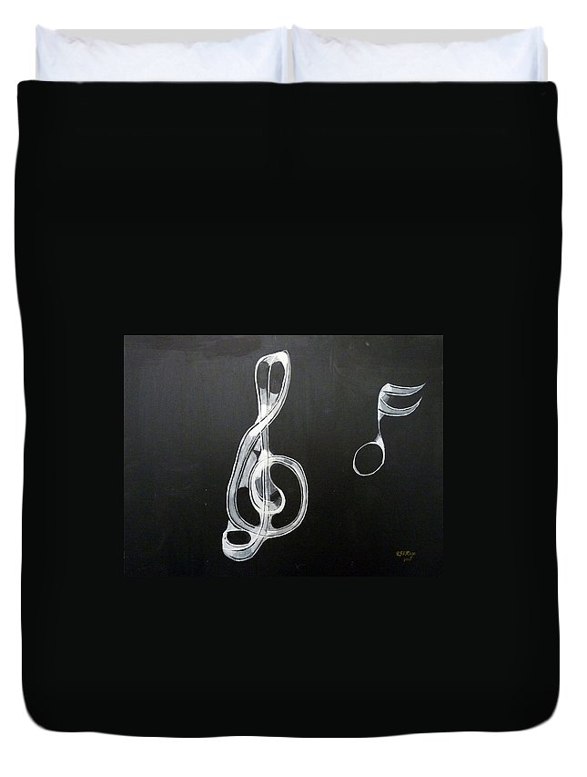 Treble Clef Duvet Cover featuring the painting Treble Clef by Richard Le Page