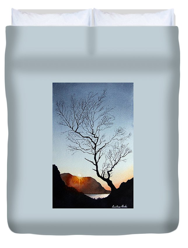 Landscape Duvet Cover featuring the painting Tree Above Crummock Water by Paul Dene Marlor