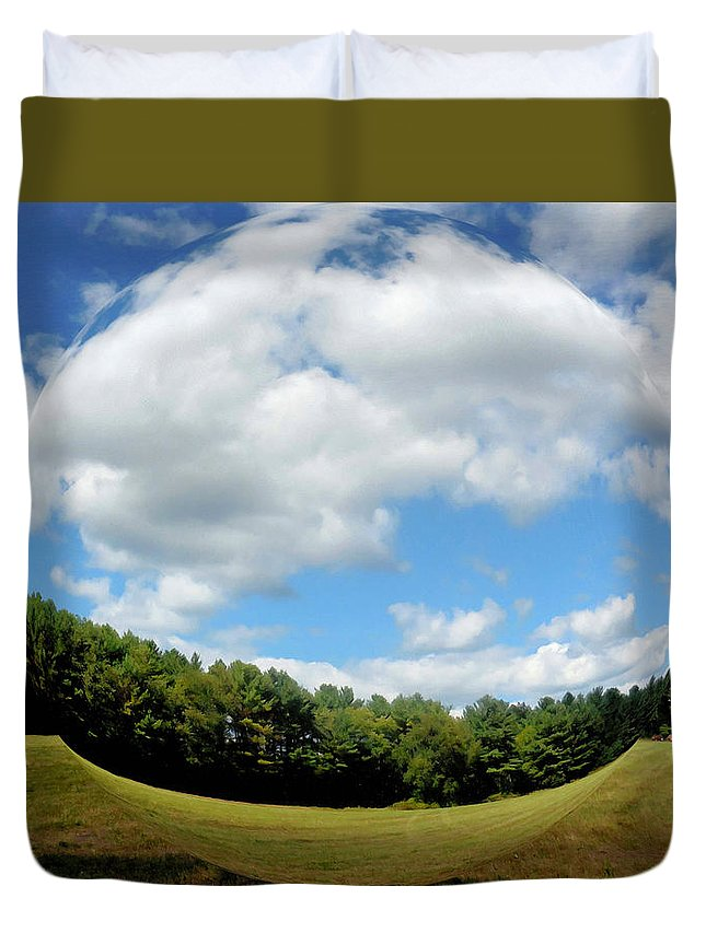Tree And Blue Sky Duvet Cover featuring the painting Tree And Blue Sky by Jeelan Clark
