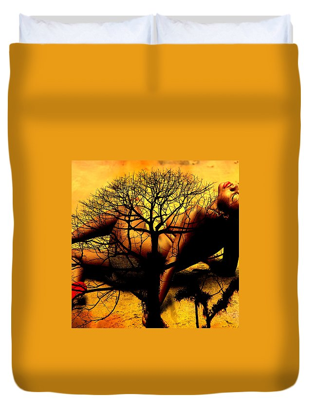 Duvet Cover featuring the photograph Tree And Her by Brian Gomes