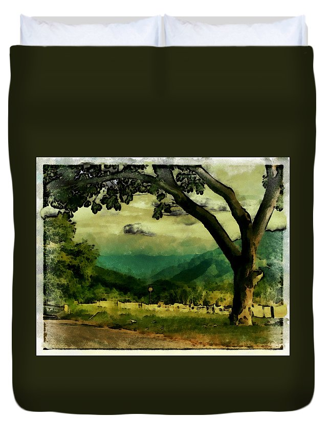 Duvet Cover featuring the photograph Tree And Mountain by Galeria Trompiz