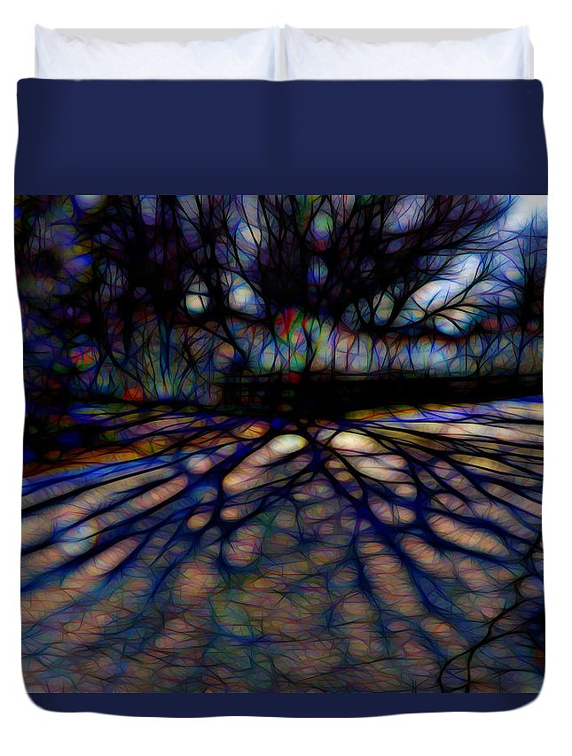 Colorful Tree Duvet Cover featuring the digital art Tree And Shadow by Lilia D