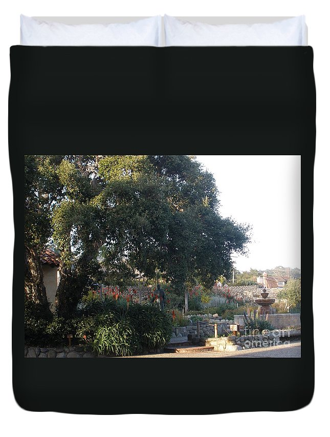 Church Duvet Cover featuring the photograph Tree At Mission Carmel by Jeanie Watson