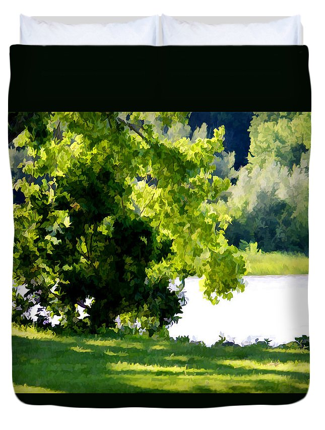 Lake Duvet Cover featuring the painting Tree At Riverside Park 3 by Jeelan Clark