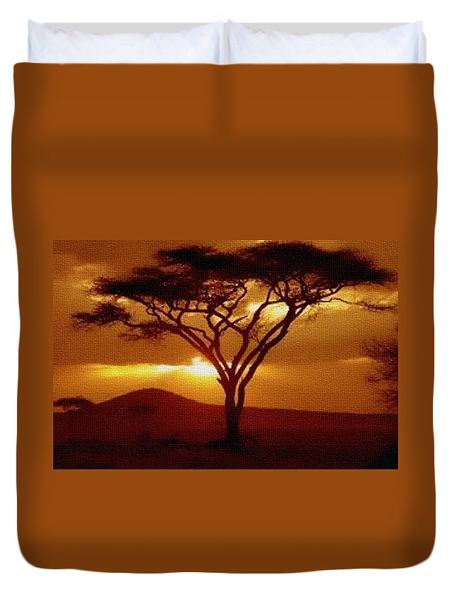 Rural Duvet Cover featuring the painting Tree At Sunset. L B by Gert J Rheeders