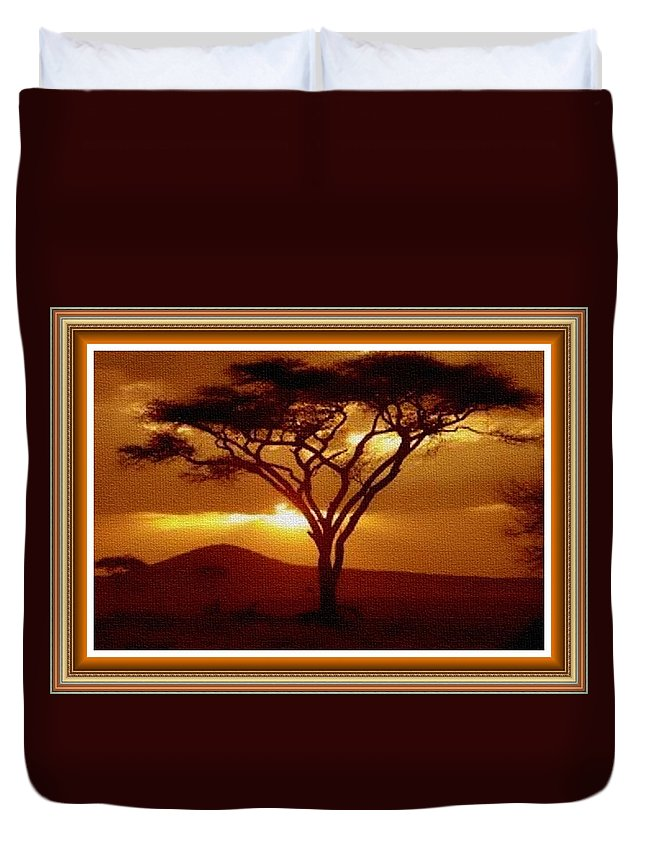 Rural Duvet Cover featuring the painting Tree At Sunset. L B With Decorative Ornate Printed Frame. by Gert J Rheeders