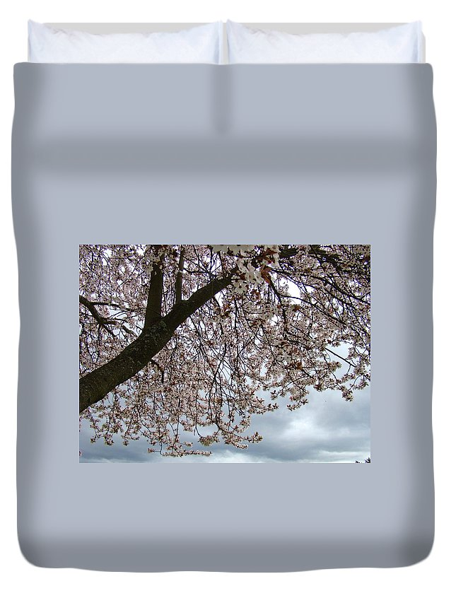 �blossoms Artwork� Duvet Cover featuring the photograph Tree Blossoms Landscape 11 Spring Blossoms Art Prints Giclee Sky Storm Clouds by Baslee Troutman