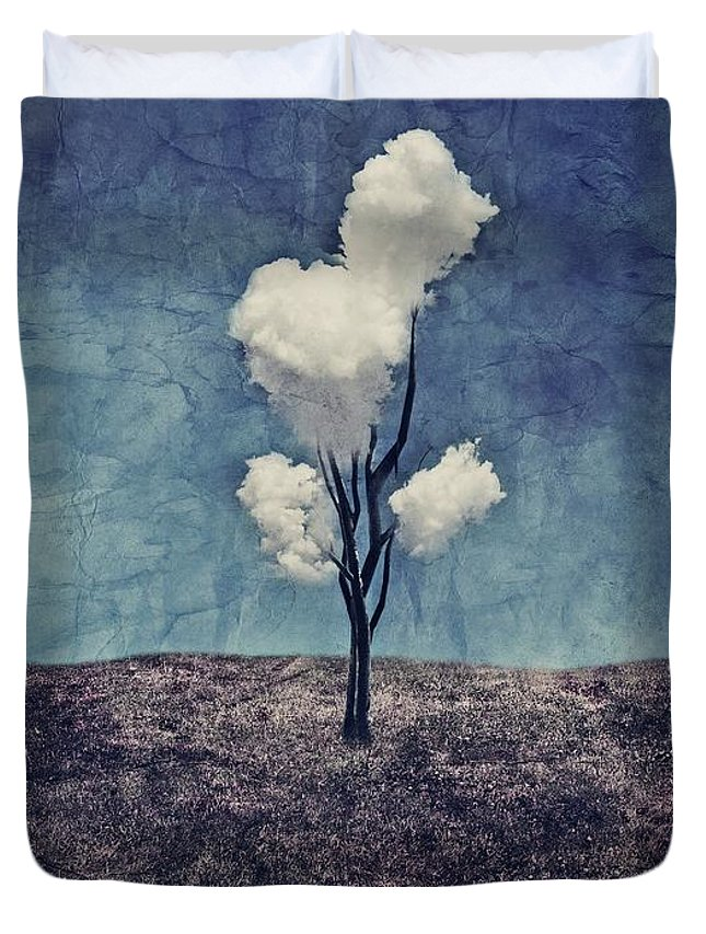 Tree Duvet Cover featuring the digital art Tree Clouds 01d2 by Aimelle