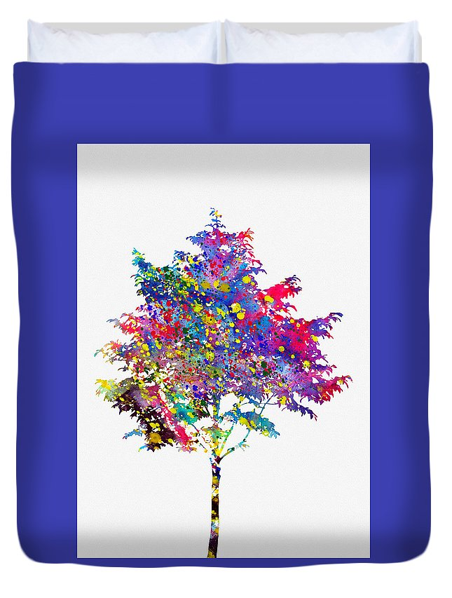 Tree Duvet Cover featuring the digital art Tree-colorful by Erzebet S