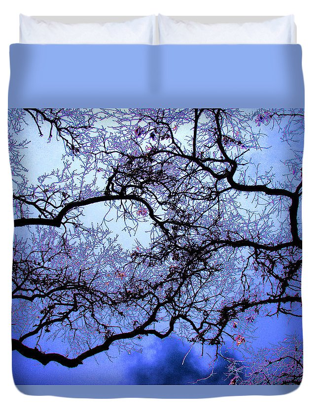 Scenic Duvet Cover featuring the photograph Tree Fantasy In Blue by Lee Santa