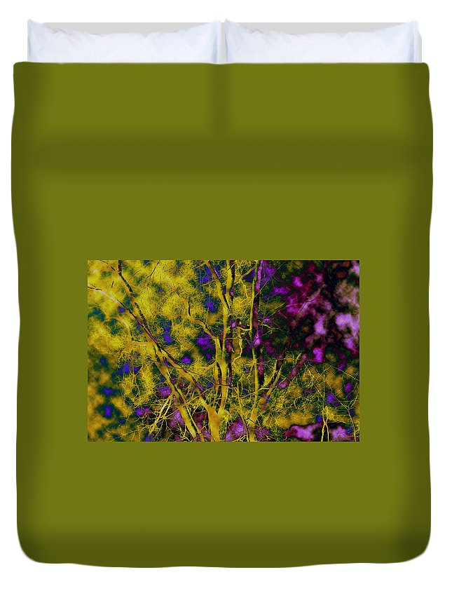 Abstract Duvet Cover featuring the photograph Tree Glow by Linda Sannuti