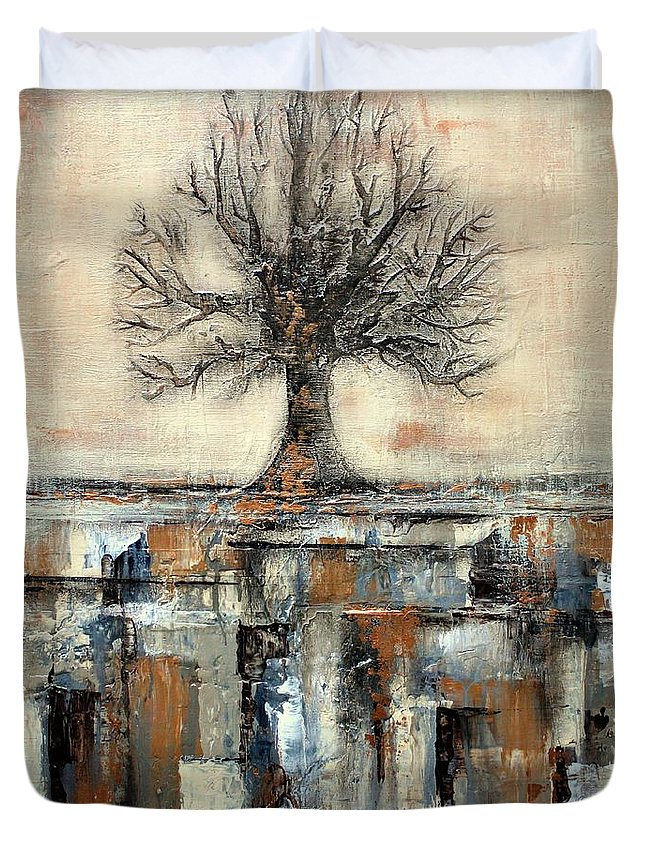 Tree Duvet Cover featuring the painting Tree In Brown And Gold Landscape by Liz Moran