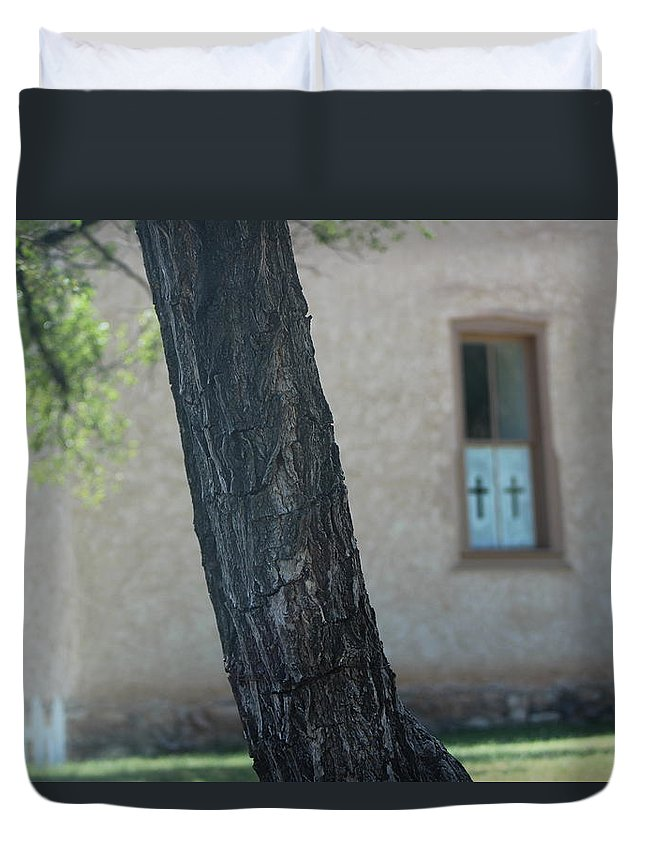Tree Duvet Cover featuring the photograph Tree in Foreground of Church Yard Photograph by Colleen by Colleen Cornelius