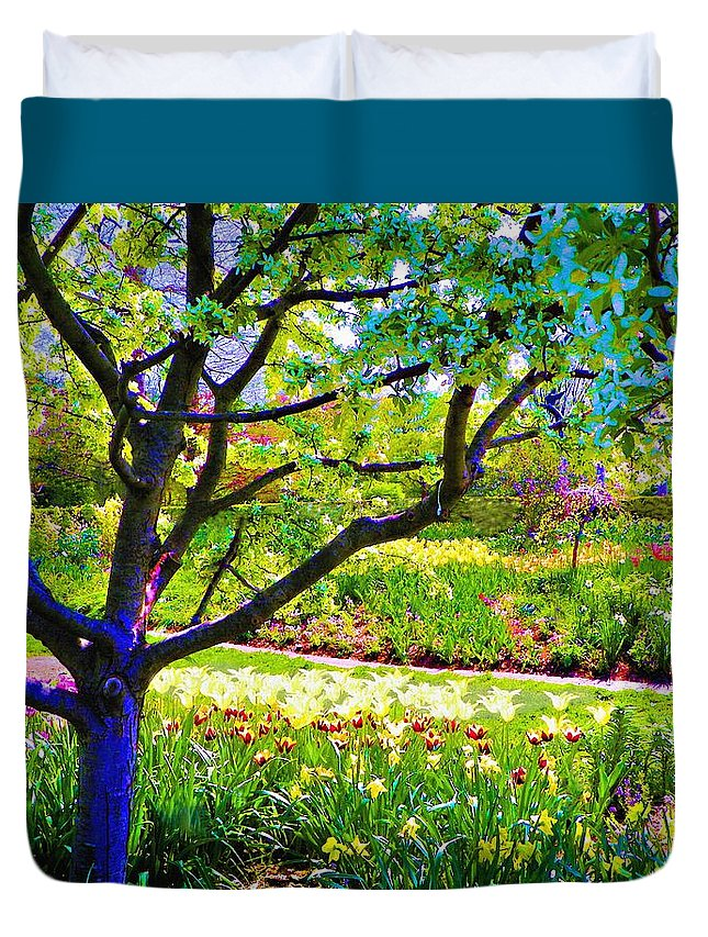 Print On Canvas Duvet Cover featuring the painting Tree In Spring by Susanna Katherine