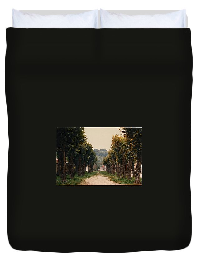Trees Duvet Cover featuring the photograph Tree Lined Pathway In Lyon France by Nancy Mueller