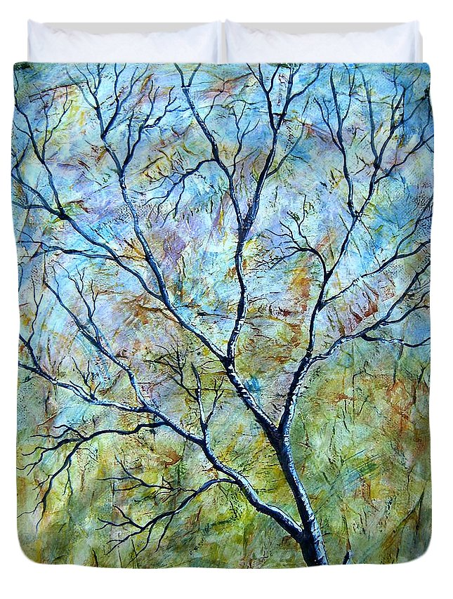 Duvet Cover featuring the painting Tree Number Two by Tami Booher
