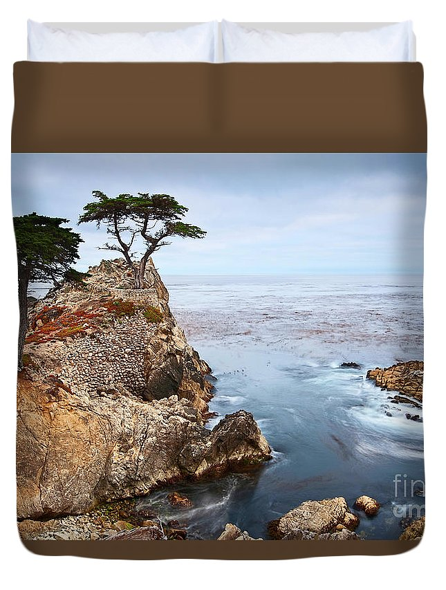Lone Cypress Duvet Cover featuring the photograph Tree Of Dreams - Lone Cypress Tree At Pebble Beach In Monterey California by Jamie Pham