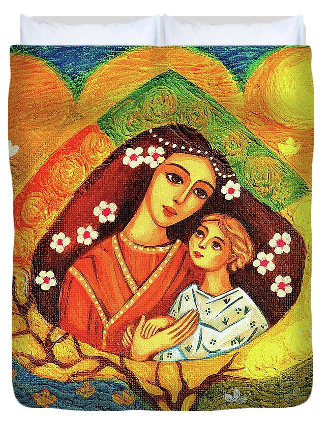 Mother And Child Duvet Cover featuring the painting Tree Of Life II by Eva Campbell