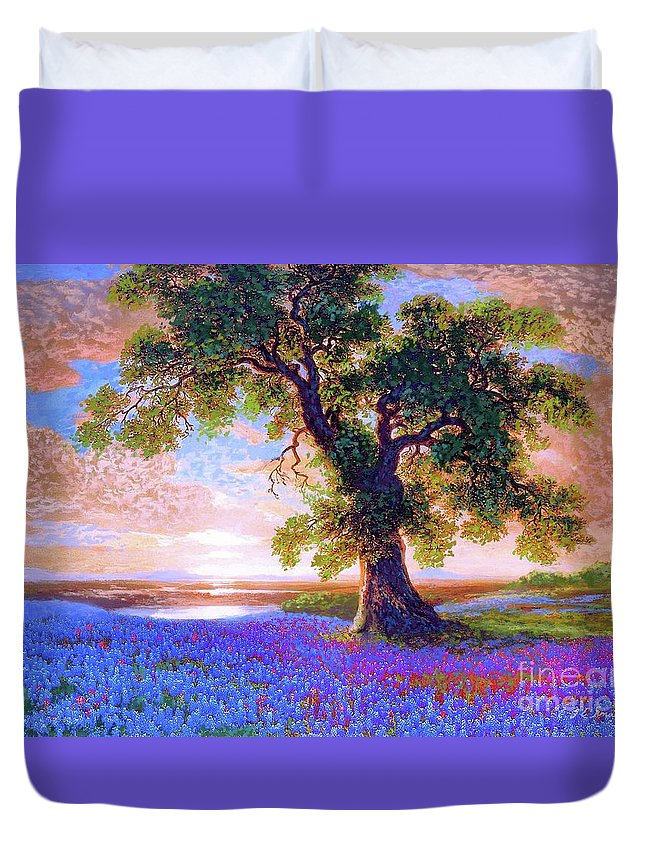 Landscape Duvet Cover featuring the painting Bluebonnets by Jane Small