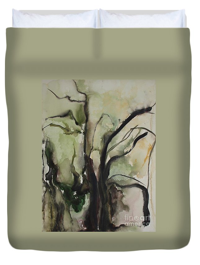 Tree Winter Abstract Original Painting Landscape Leila Atkinson Watercolor Wet On Wet Washes Trees Duvet Cover featuring the painting Tree Series V by Leila Atkinson