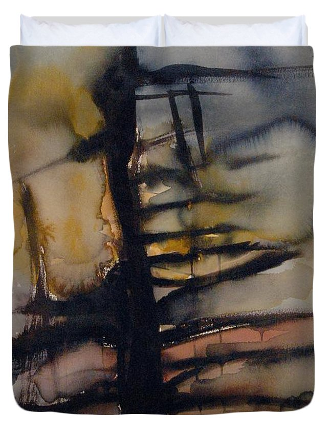 Tree Abstracted Original Watercolor Silhouette Open Branches Limbs Trees Duvet Cover featuring the painting Tree Series Vi by Leila Atkinson