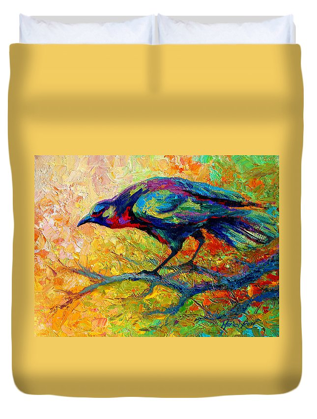 Crows Duvet Cover featuring the painting Tree Talk - Crow by Marion Rose
