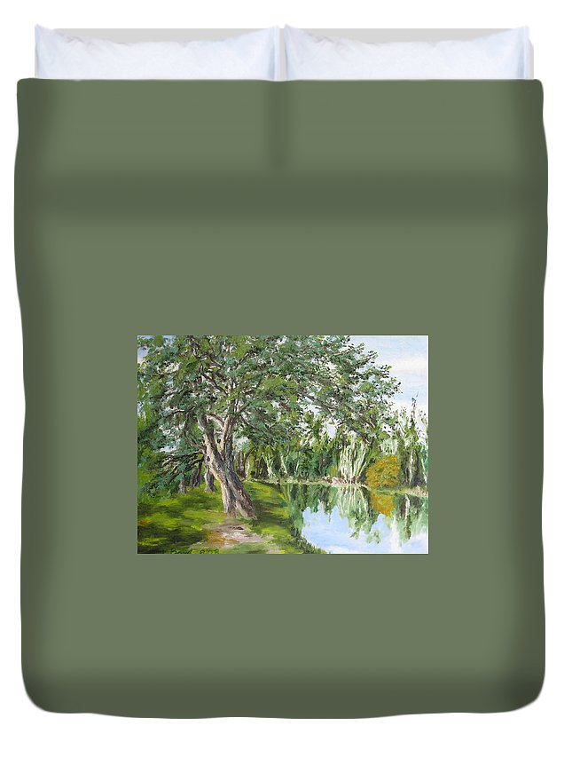 Landscape Duvet Cover featuring the painting Tree Tops Park by Lisa Boyd