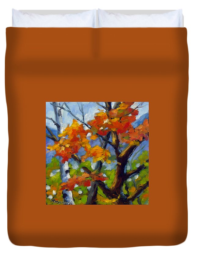 Art For Sale Duvet Cover featuring the painting Tree Tops by Richard T Pranke