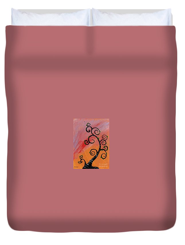 Tree Duvet Cover featuring the painting Tree V Wr by Mrs Wilkes Art