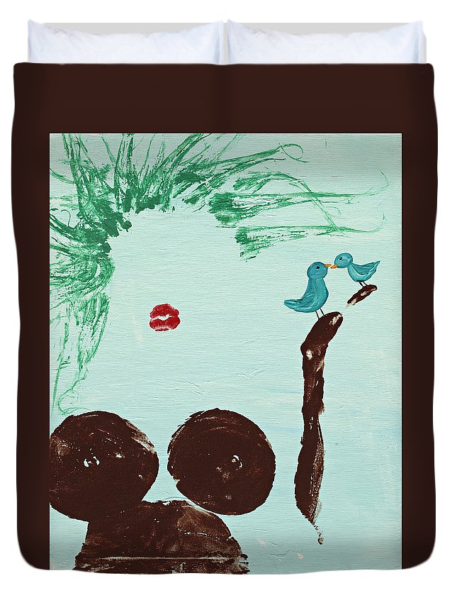 Body Prints Duvet Cover featuring the painting Tree With Blue Birds by April Kasper
